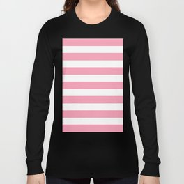 Salmon Pink & White Stripes Long Sleeve T-shirt