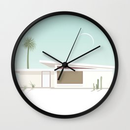 Palm Springs Midcentury White House with Moon Wall Clock