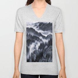Misty Forest Mountains Unisex V-Neck