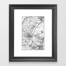 Vintage Paris Map Framed Art Print