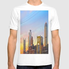 Sunset from the Southside White Mens Fitted Tee MEDIUM