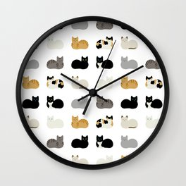 Cat Loaf 2 - White Ground Wall Clock