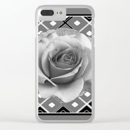 Art Deco White Rose Black-White-Grey Art Clear iPhone Case