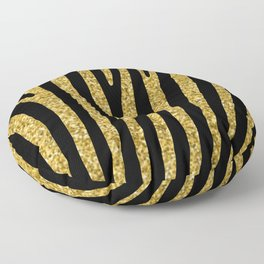 Gold glitter black zebra pattern Floor Pillow
