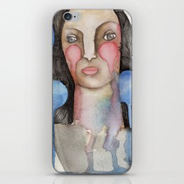 Woman with falling bubbles iPhone Skin