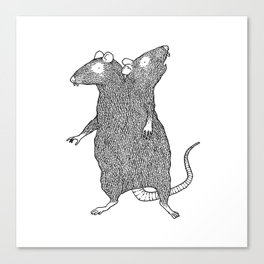 Two Headed Rat, I Love You Canvas Print