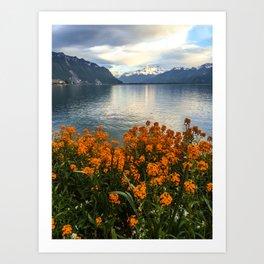 Lake Geneva and Alps, Montreux, Switzerland Art Print