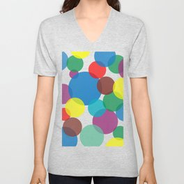 Colorful circles and bubbles Unisex V-Neck