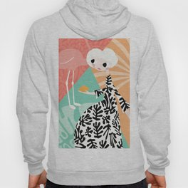 Girl with flamingo and Henri Matisse inspired decoration, vector illustration, geometric Hoody
