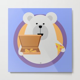 Polar Bear with Pizza in cirlce Metal Print