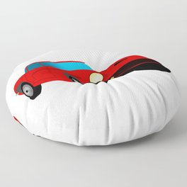 Red Sports Car Illustration Floor Pillow