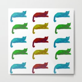 Cats - Popart Style on white Background Metal Print