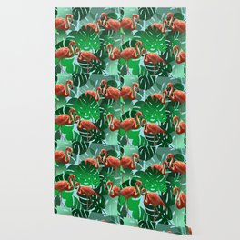 Monstera green Leaveswith Flamingos Wallpaper
