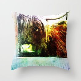 Colorful cow Throw Pillow