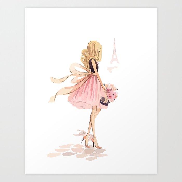 Girl pink Art Print