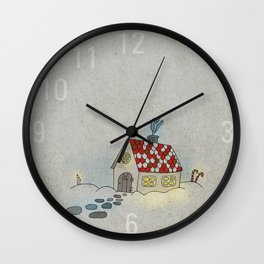 Winter Evening in Tiny Gingerbread House Wall Clock