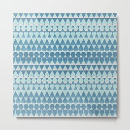 Retro Abstract Blue Aztec Zigzag Mosaic Pattern Metal Print