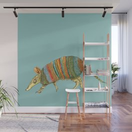 Armadillo on Blue Wall Mural