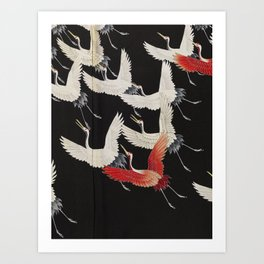 Furisode with a Myriad of Flying Cranes (Japan) Art Print