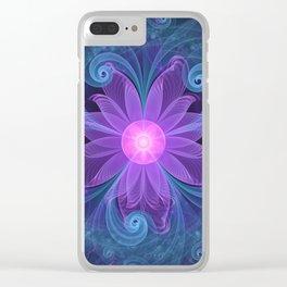 Blown Glass Flower of an ElectricBlue Fractal Iris Clear iPhone Case