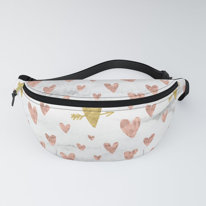 Rose Gold Marble Hearts Design Pattern Fanny Pack