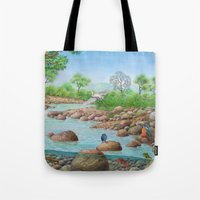 river Tote Bags featuring  river  by Amy Fan