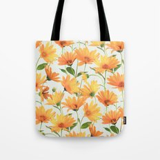 Painted Radiant Orange Daisies on off-white Tote Bag