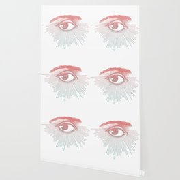 I See You. Pink Turquoise Gradient Sunburst Wallpaper