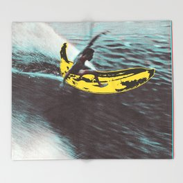 Banana surfer Throw Blanket