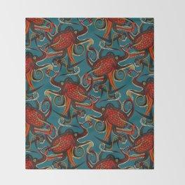 octopus ink teal Throw Blanket