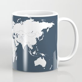 Minimalist World Map in Navy Blue Coffee Mug