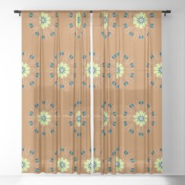 Sueded Camel with Wild Daisies Sheer Curtain