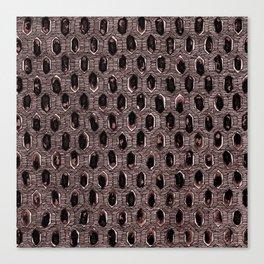 Watercolour Blackwork: 'Lozenge' Burnt Rose 1 (dark) Canvas Print