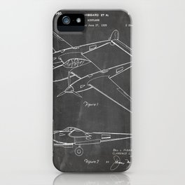 Lockheed P-31 Airplane Patent - Lightning Aircraft Art - Black Chalkboard iPhone Case