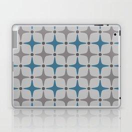 Mid Century Modern Star Pattern Grey and Blue Laptop & iPad Skin