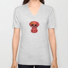 Cute Puppy Dog with flag of China Unisex V-Neck