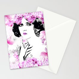 CLARA WOMAN PINK ORCHIDS AND MAGNOLIAS Stationery Cards