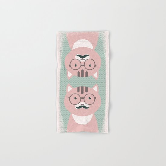 Clever Cat cute pet hippster moustache character Hand & Bath Towel