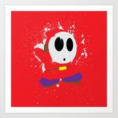 Red Shy Guy Splattery Design Art Print