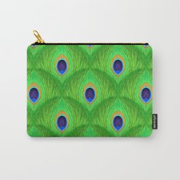 Peacock Feather Repeat Pattern/bright green/blue peacock Carry-All Pouch