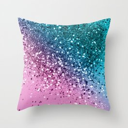 Tropical Beach Lady Glitter #8 #shiny #decor #art #society6 Throw Pillow