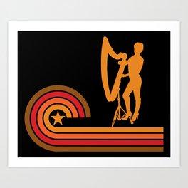 Retro Style Harpist Vintage Harp Art Print