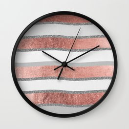 Gray faux silver rose gold geometrical wave stripes Wall Clock