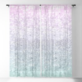 Mermaid Girls Glitter #1 (2019 Pastel Version) #shiny #decor #art #society6 Sheer Curtain