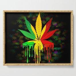 Marijuana Leaf Rasta Colors Dripping Paint Serving Tray