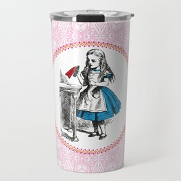 Alice in Wonderland | Drink Me Bottle | Pink Damask Pattern | Travel Mug