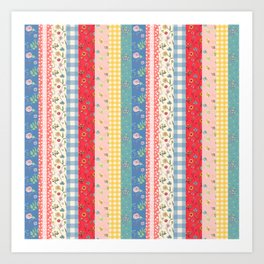 Happy patchwork stripe Art Print