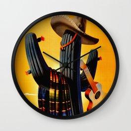Vintage Mexico Cactus Travel Wall Clock