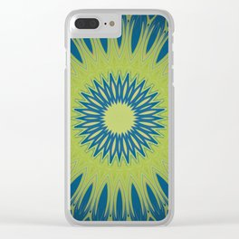 Bright Lime Green and Blue Mandala Clear iPhone Case