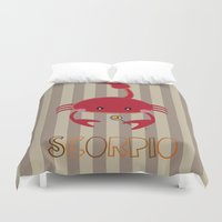 scorpio Duvet Covers featuring Scorpio by Esther Ilustra